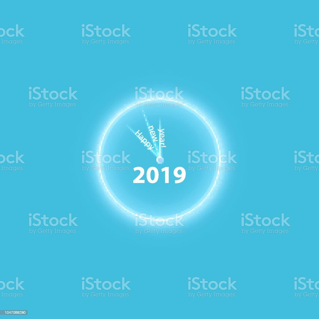 christmas party poster with a glowing gold magical clock happy 2019 new year flyer