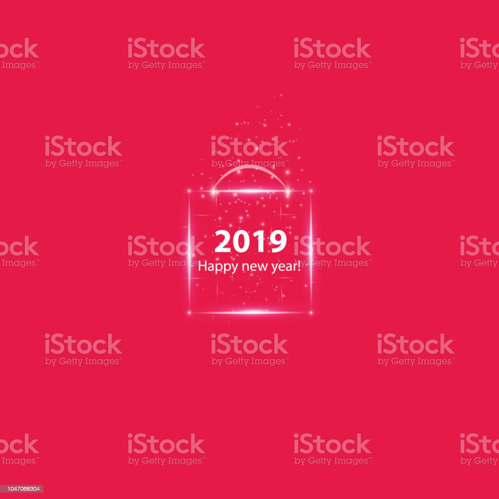 christmas party poster with a glowing magical box happy 2019 new year flyer greeting