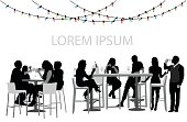 A vector silhouette illustration of two groups of young adutls gathering for food and drinks at a local restaurant during the holidays as christmas light hang from above.