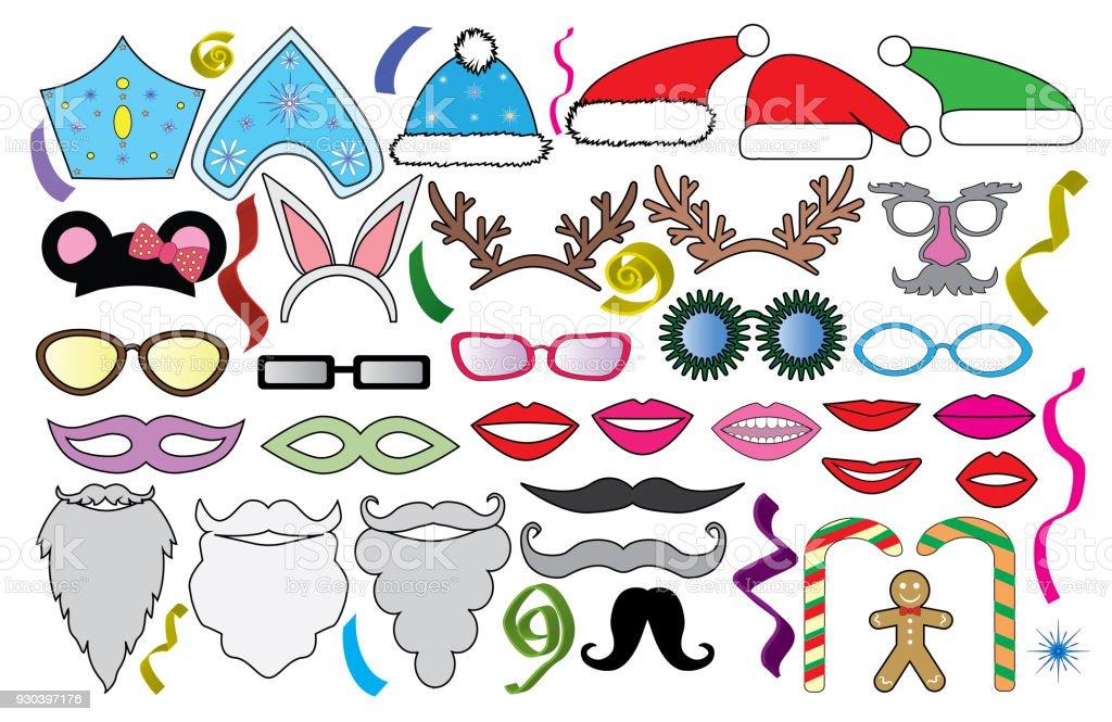 Assortiment Pour Fête Noël Lunettes Chapeaux Lèvres Moustache