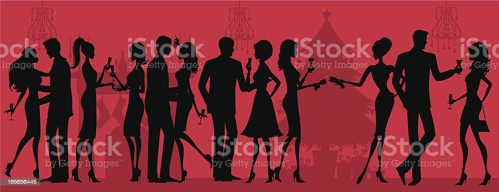 Christmas Party Silhouette vector art illustration