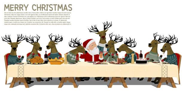 Best Christmas Dinner Illustrations, Royalty-Free Vector ...