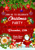 Christmas Party invitation poster design template of Christmas tree, Santa gifts and New Year bell and star decorations on red background. Vector snowflakes, gingerbread cookie and reindeer on tree
