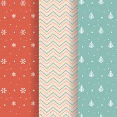 Christmas pattern collection in soft pastel color backgrounds