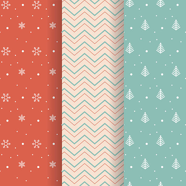 christmas pattern collection - papier do pakowania stock illustrations