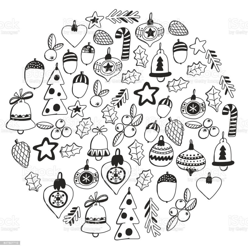 Ilustración de Patrón De Navidad Para Colorear Libro Wth Marco ...