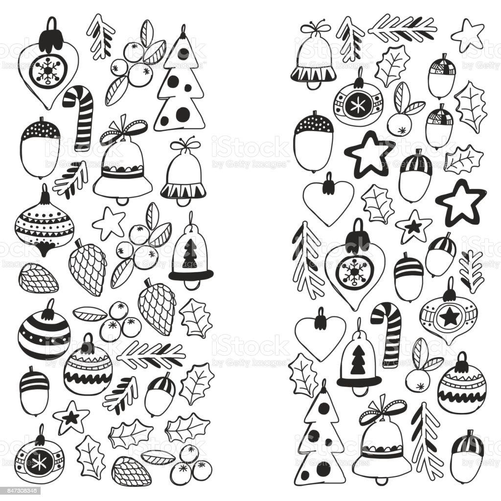 Patrón De Navidad Para Colorear Libro Wth Marco Elementos De Navidad ...