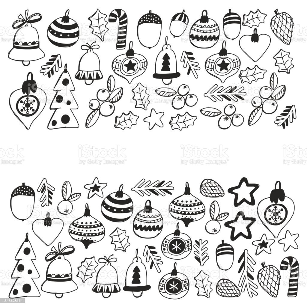 Christmas Pattern For Coloring Book Frame Wth Elements Balls Decoration Merry And