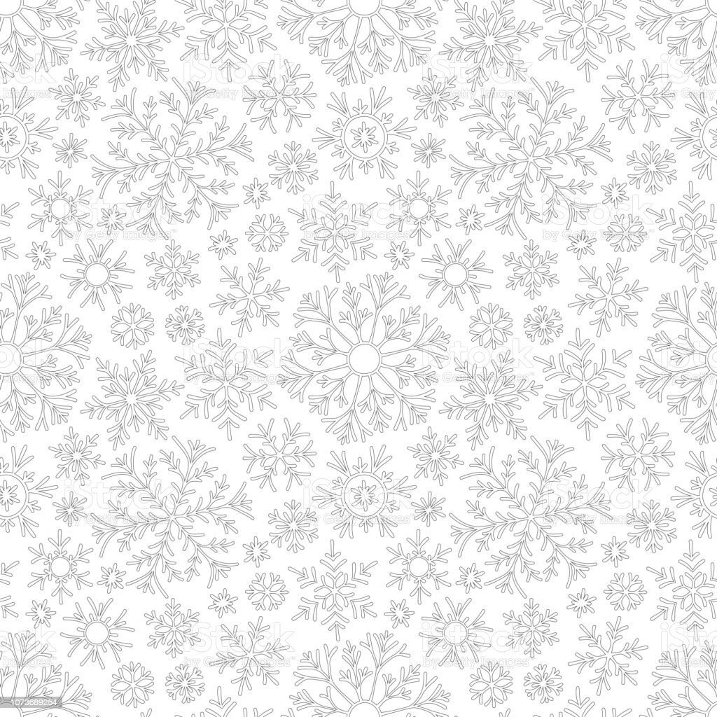 Christmas pattern from snowflakes vector art illustration