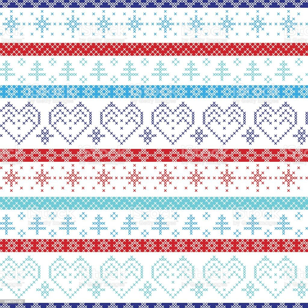 Christmas pattern:  hearts, trees, in Scandinavian cross stitch ilustração de christmas pattern hearts trees in scandinavian cross stitch e mais banco de imagens de amor royalty-free