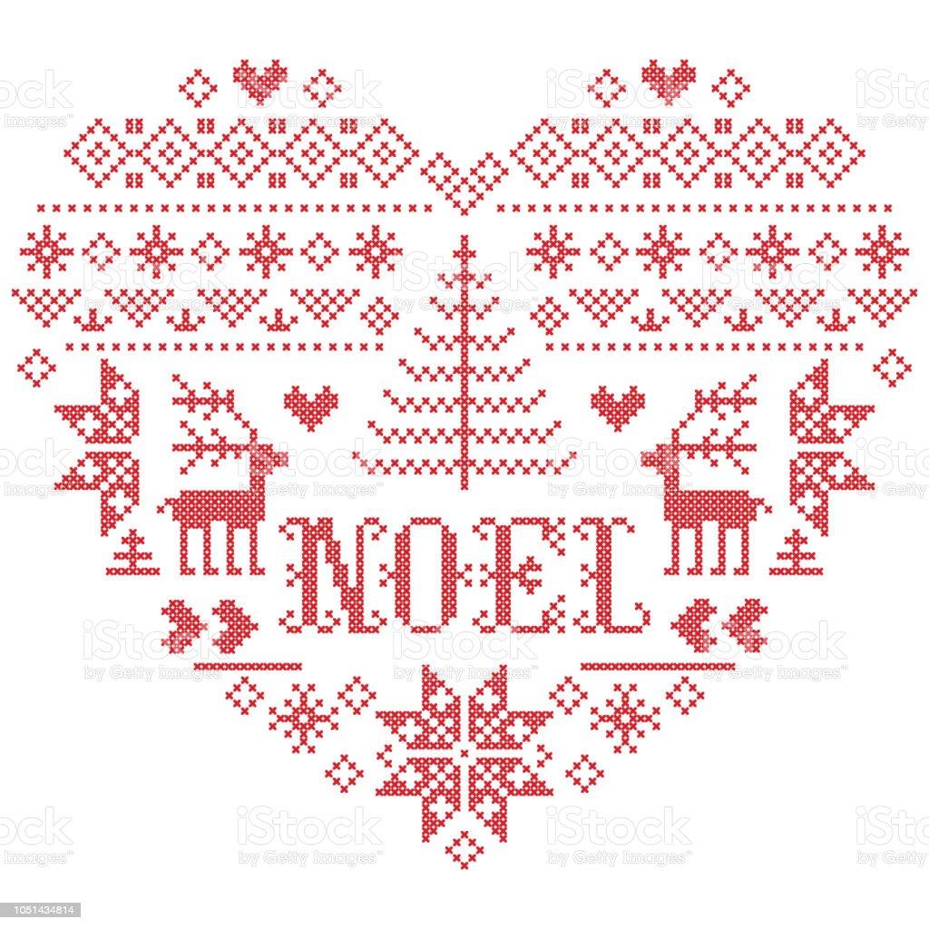 Weihnachten Muster In Herzform Mit Noel Wort Vektor Inspiriert Vom ...
