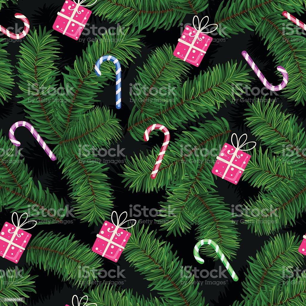 Weihnachten Muster Aus Douglasien Glieder Geschenke Und Süßigkeiten ...