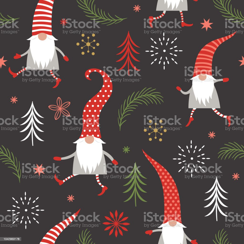 Christmas Gnomes Pattern.Christmas Pattern Seasons Greetings Cute Christmas Gnomes In
