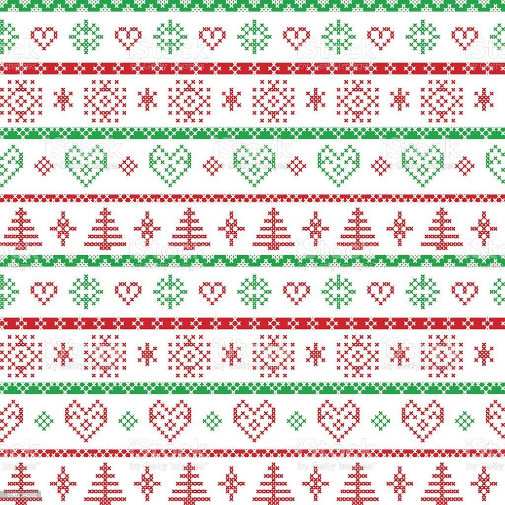 Christmas pattern: snowflakes, trees, crosses, stars  in red, green ilustração de christmas pattern snowflakes trees crosses stars in red green e mais banco de imagens de amor royalty-free