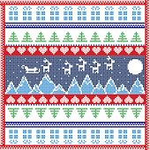 Scandinavian Nordic winter stitch, knitting  Christmas pattern in  square, tile  shape including snowflakes, trees, moon, sky, reindeer, sleigh, hearts, mountains, Christmas  tress and  decorative elements