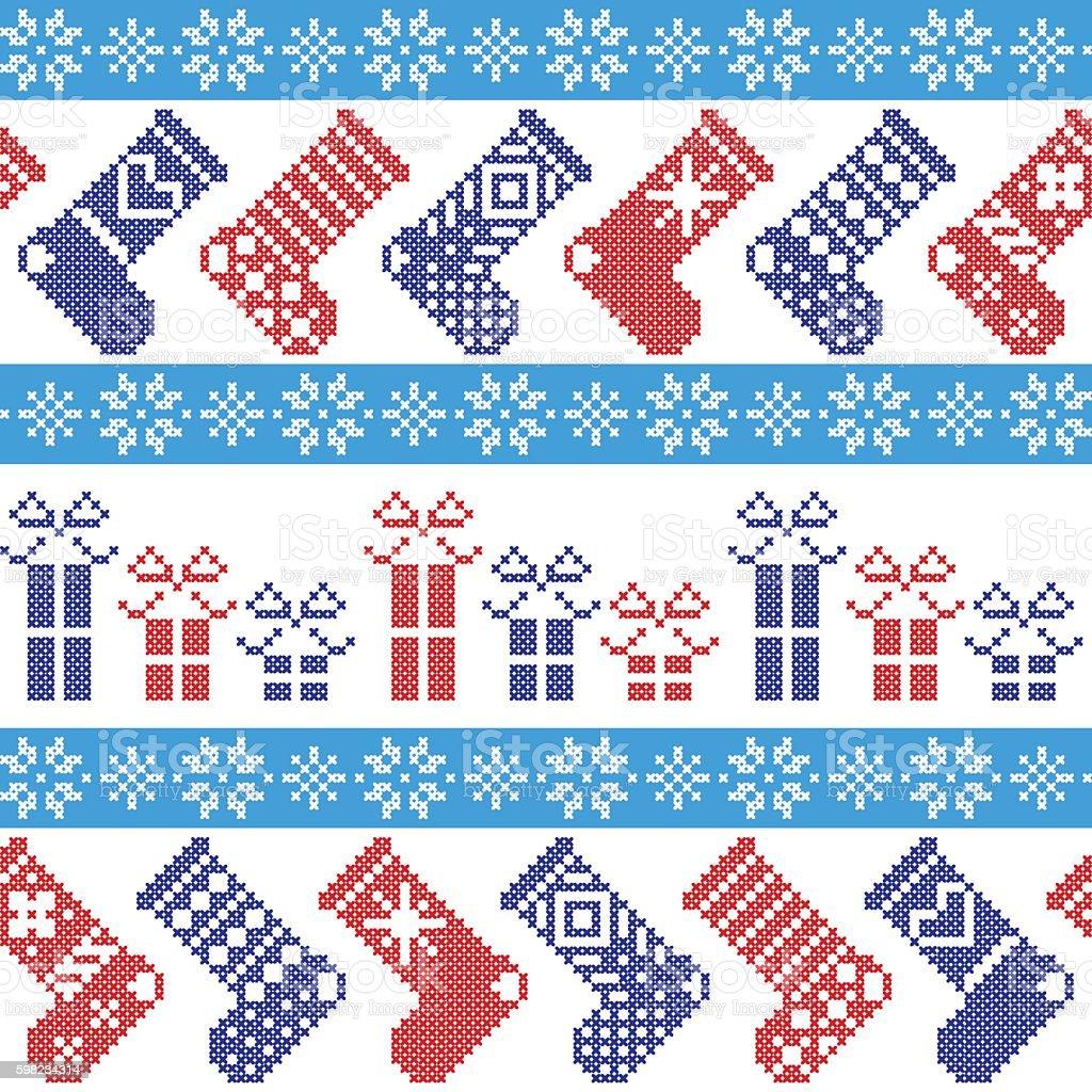 Christmas Pattern: stockings snowflakes, presents, ornaments in Scandinavian cross stitch ilustração de christmas pattern stockings snowflakes presents ornaments in scandinavian cross stitch e mais banco de imagens de arte e artesanato - assunto royalty-free