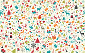 Christmas pattern, layered illustration witch typical christmas symbols. Global colors used. Easy to edit.