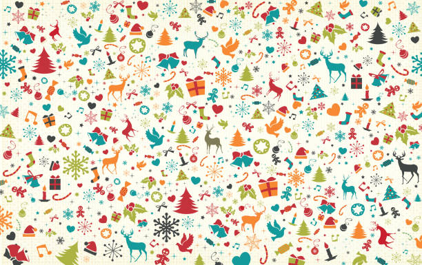 Christmas Pattern Christmas pattern, layered illustration witch typical christmas symbols. Global colors used. Easy to edit. backgrounds icons stock illustrations