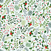 Seamless Christmas background with spruce branches, berries and mistletoe.