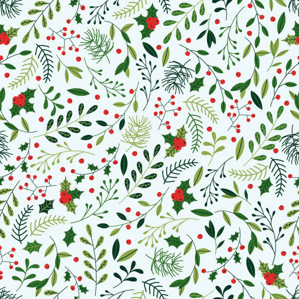 Christmas Pattern Seamless Christmas background with spruce branches, berries and mistletoe. lush foliage stock illustrations