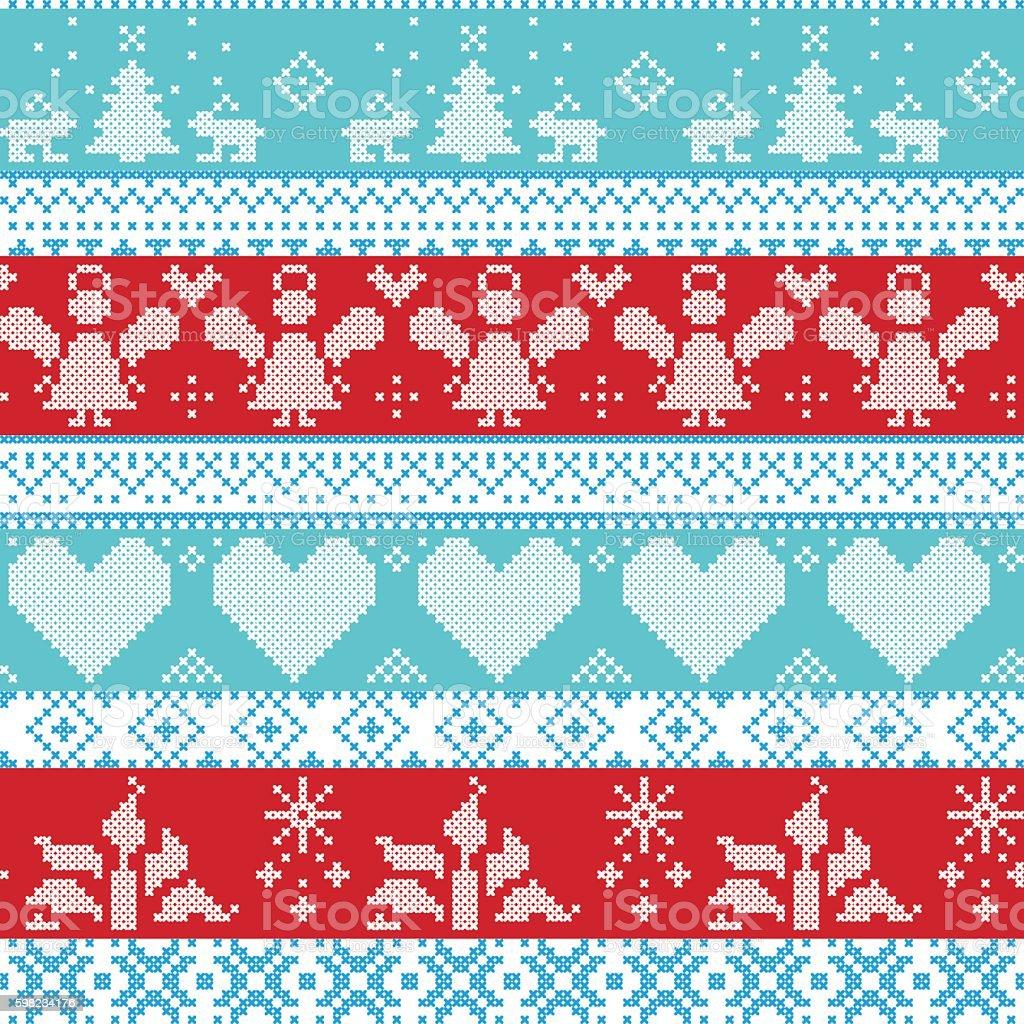 Christmas Pattern with angels, trees, rabbits, snowflakes, candles ilustração de christmas pattern with angels trees rabbits snowflakes candles e mais banco de imagens de amor royalty-free