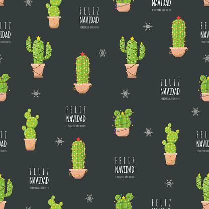 Christmas pattern with cute cactus. Feliz navidad.