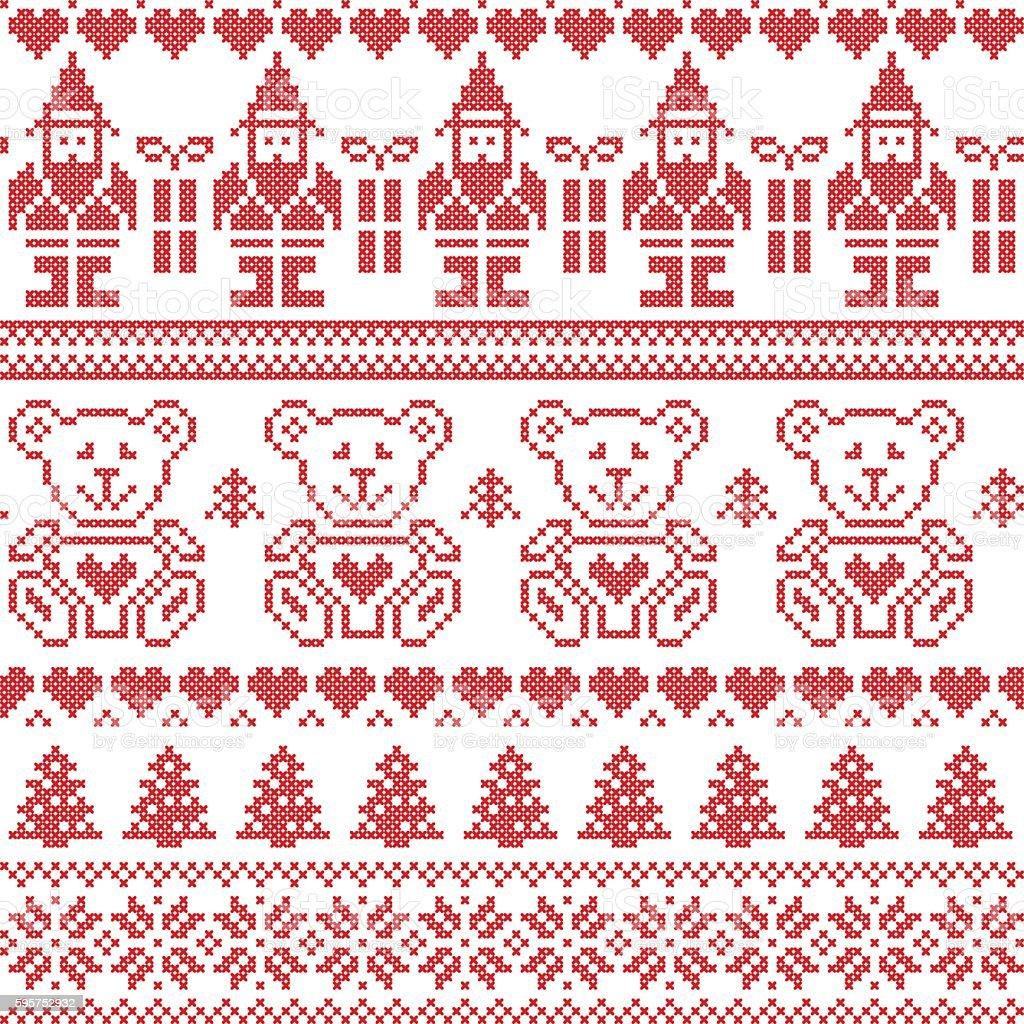 Christmas Pattern With Elf Stars Teddy Bears Snow Xmas Trees Stock ...