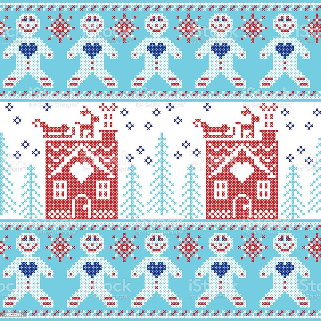 Christmas pattern with ginger bread house, reindeer, snow, sleigh, ilustração de christmas pattern with ginger bread house reindeer snow sleigh e mais banco de imagens de arte e artesanato - assunto royalty-free