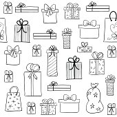 Christmas pattern with hand drawn gift boxes