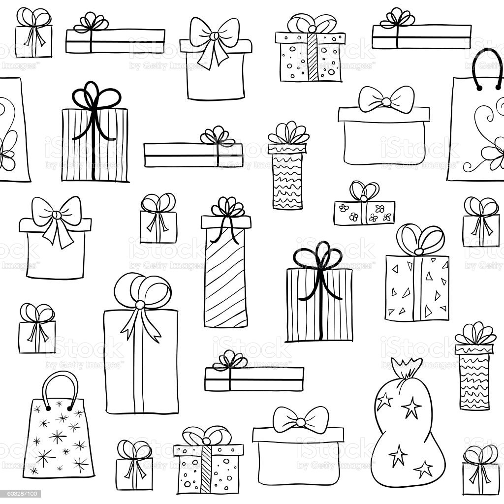 Christmas pattern with hand drawn gift boxes vector art illustration