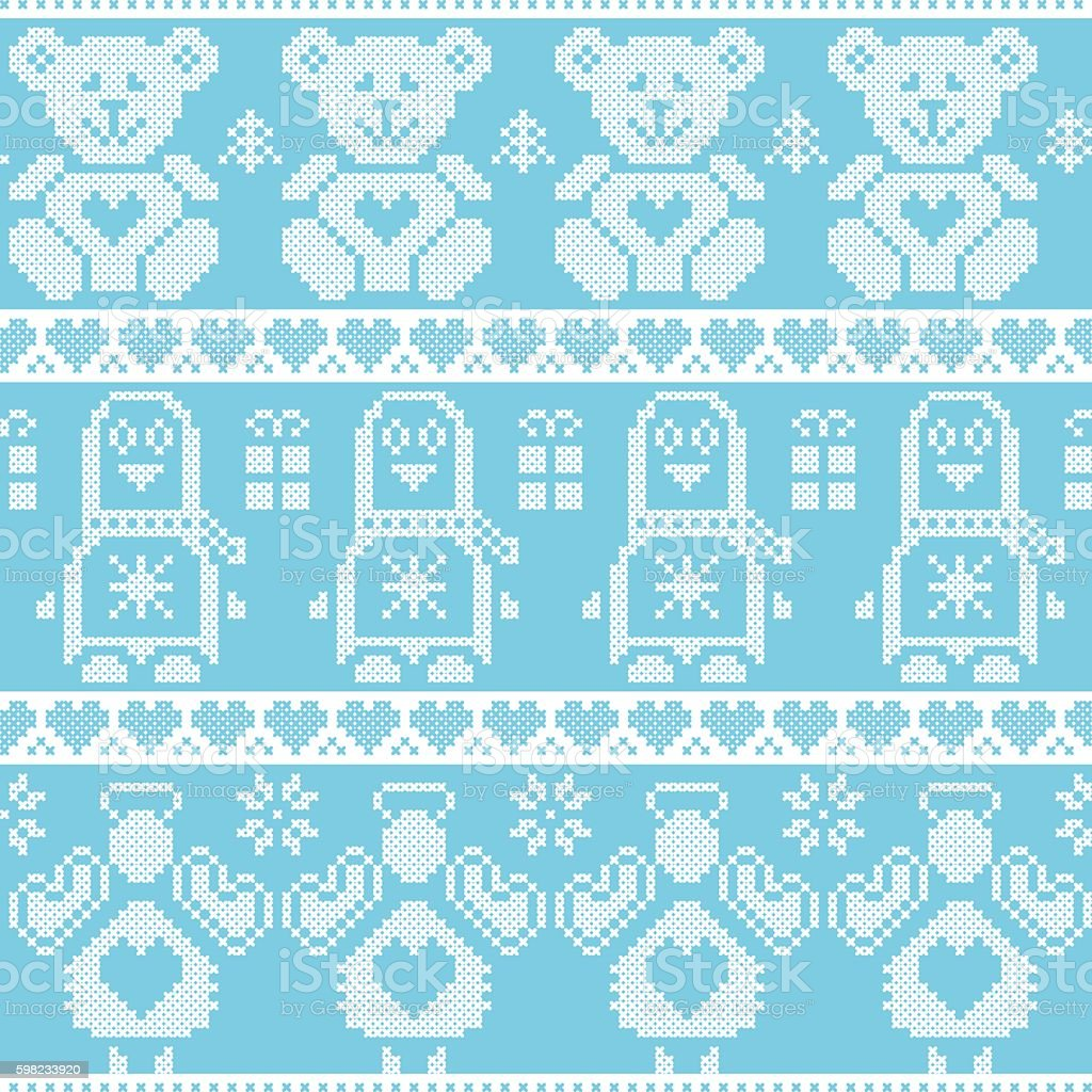 Christmas pattern with penguin, angel, teddy bear, gifts, hearts ilustração de christmas pattern with penguin angel teddy bear gifts hearts e mais banco de imagens de anjo royalty-free