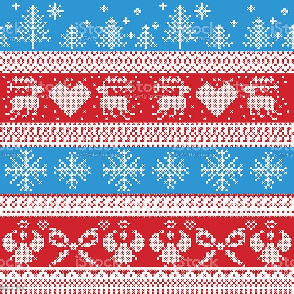 Christmas pattern with reindeer, trees, angels, stars in red, blue ilustração de christmas pattern with reindeer trees angels stars in red blue e mais banco de imagens de amor royalty-free