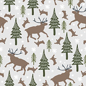 Christmas pattern with seamless drawing of reindeer, forest tree and rabbit. Natural floral drawing for winter season and christmas holiday. Vector illustration for wallpaper and textile print.