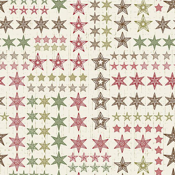 Christmas Pattern with Stars vector art illustration