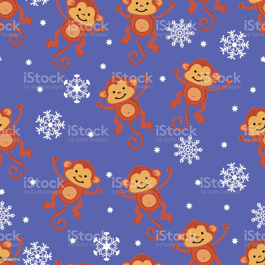 Christmas pattern with the symbol of a monkey 2016 vector art illustration