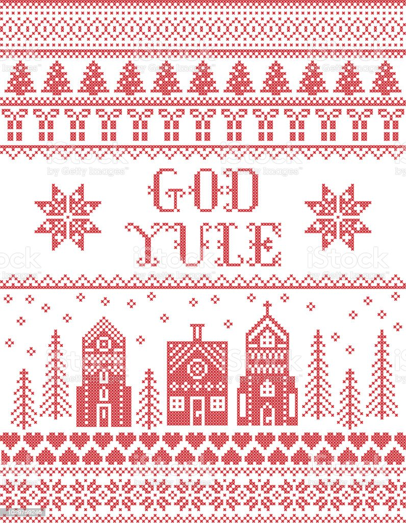 Christmas Pattern With Winter Wonderland Village God Yule Vector ...