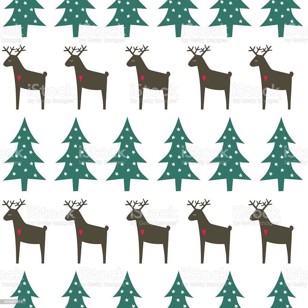Christmas pattern - Xmas trees, deer and snowflakes. ilustração de christmas pattern xmas trees deer and snowflakes e mais banco de imagens de abstrato royalty-free