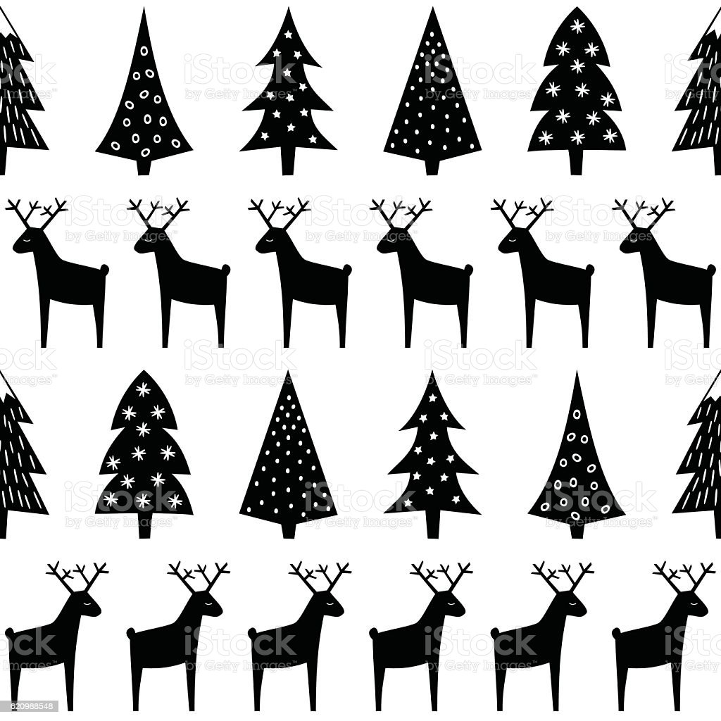 Christmas pattern - Xmas trees, reindeer and snowflakes. ilustração de christmas pattern xmas trees reindeer and snowflakes e mais banco de imagens de abstrato royalty-free