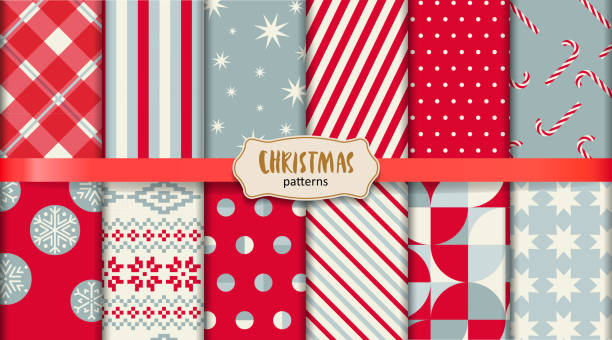 Christmas patterns EPS10 file. It don't contain blending objects. Layered. grouped. All swatches are seamless. candy patterns stock illustrations