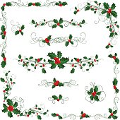 Ornate elements for your design with holly berries isolated on a white background