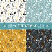 Vector set of four variously colored hand drawn seamless Christmas patterns with funny doodle Christmas trees and snowflakes.