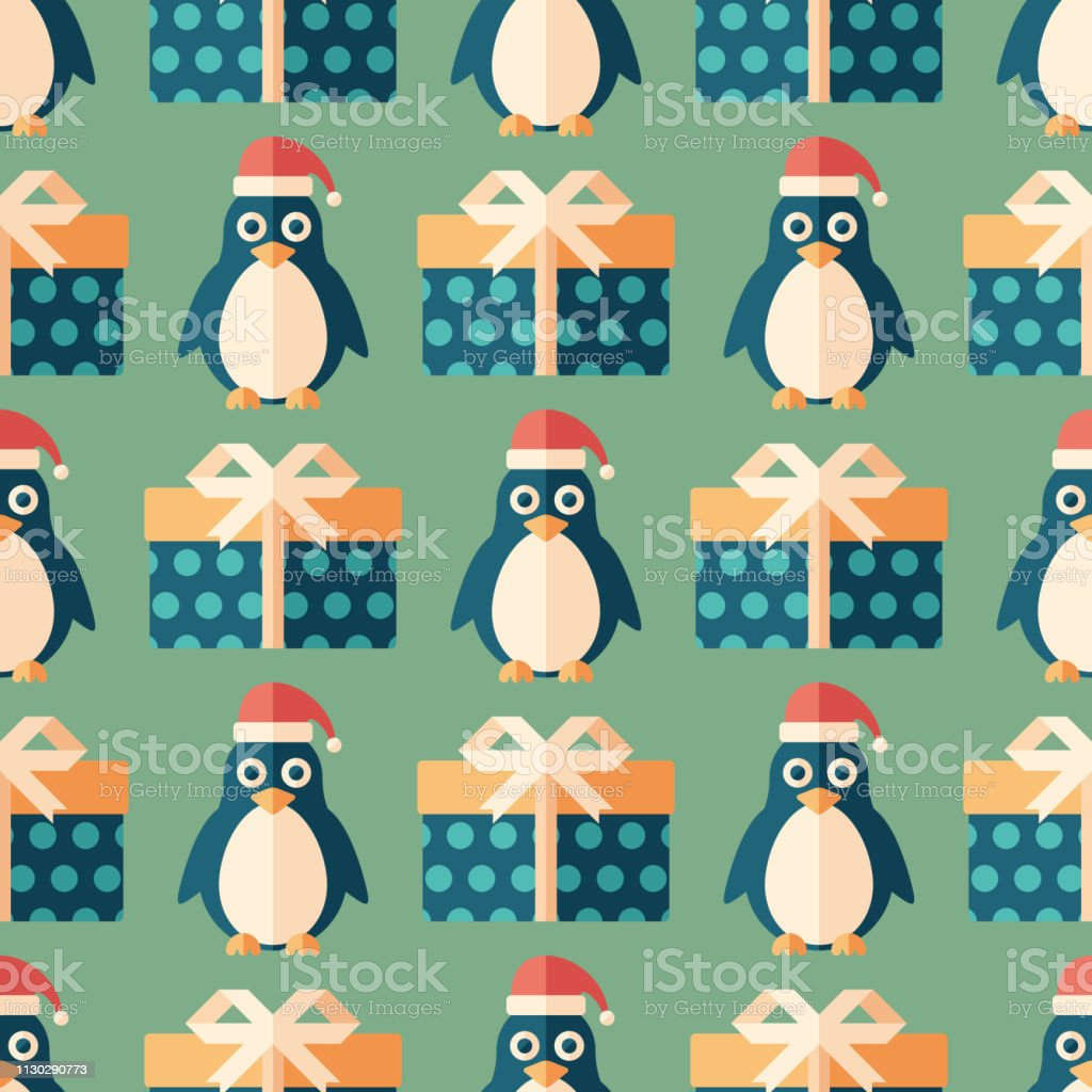 Presentes e Natal pinguim liso sem costura padrão de arte. - ilustração de arte em vetor