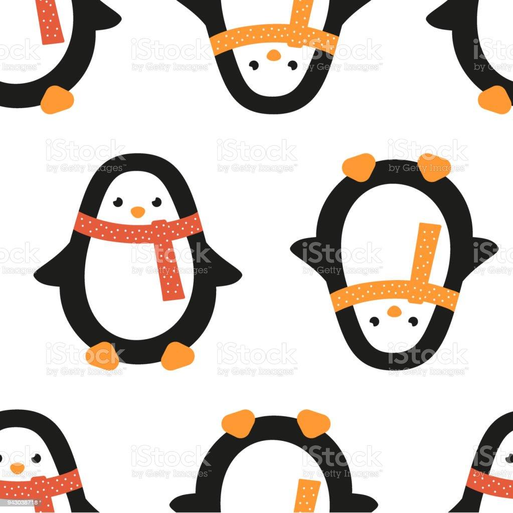 Ilustración de Pingüino De Navidad En Bufanda En Punto Patrón ...