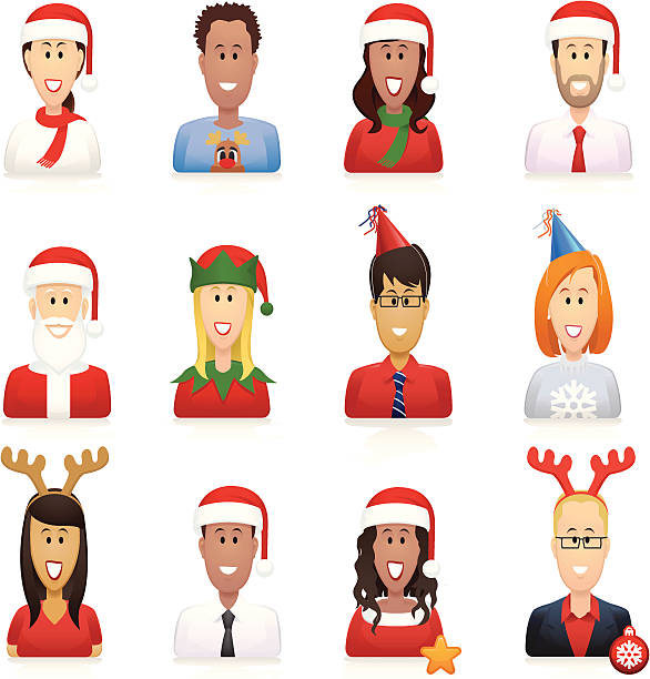 christmas people icons - office party stock illustrations, clip art, cartoons, & icons
