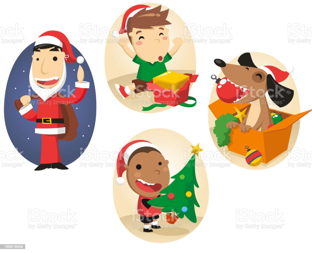 Christmas People Scenes 2 royalty-free stock vector art