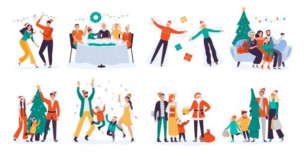 ilustrações de stock, clip art, desenhos animados e ícones de christmas people. winter family holidays, decorate xmas tree and home holiday dinner vector illustration set - family christmas