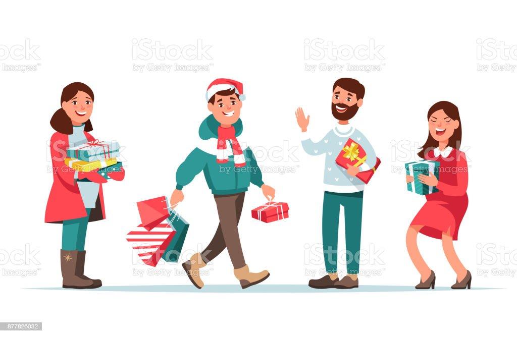 Weihnachten-Menschen mit Geschenk – Vektorgrafik