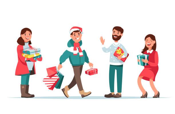 bildbanksillustrationer, clip art samt tecknat material och ikoner med christmas folk med gåva - christmas gift family
