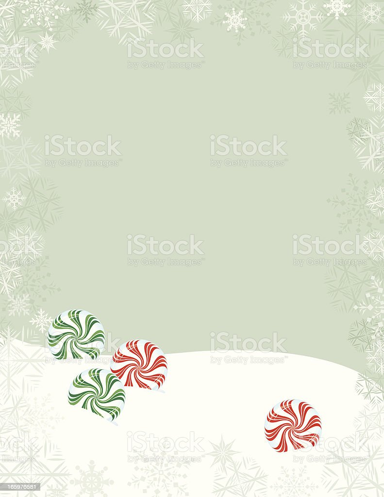 Christmas Peppermint Candies in Snow - Holiday Background royalty-free stock vector art