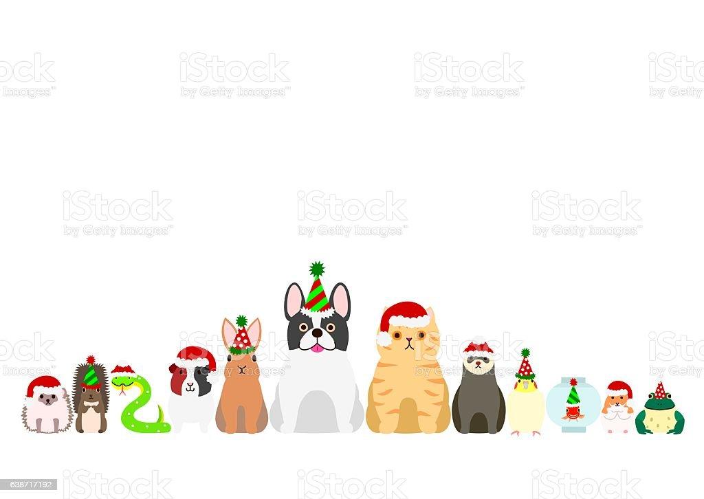 Christmas Pet Animals Border Set Stock Illustration ...